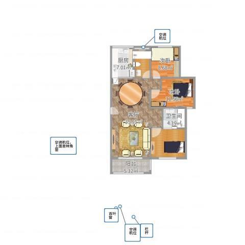 北大资源.理城2室1厅1卫1厨109.00㎡户型图