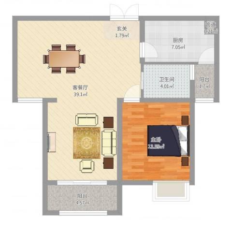 西堤公寓1室2厅1卫1厨88.00㎡户型图