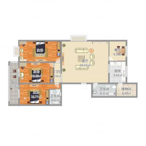 滨河花园3室2厅2卫1厨214.00㎡户型图