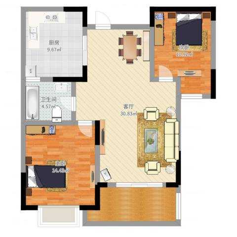 三金燕语庭3室1厅1卫1厨97.00㎡户型图