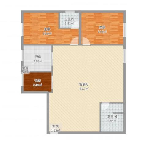 王家湾功臣楼3室2厅2卫1厨146.00㎡户型图