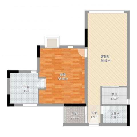 创富商务公寓1室2厅2卫1厨79.00㎡户型图