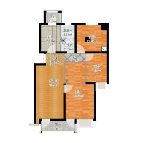 北苑之星3室2厅2卫1厨110.00㎡户型图
