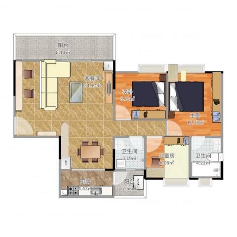 九洲花园3室2厅2卫1厨112.00㎡户型图
