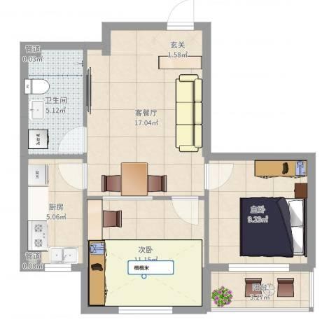 君海・朗郡2室2厅1卫1厨64.00㎡户型图
