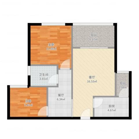 融创凡尔赛领馆2室2厅1卫1厨73.00㎡户型图