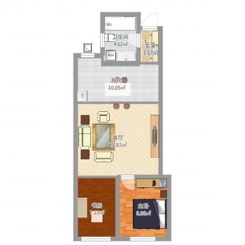 万国公馆2室1厅1卫1厨64.00㎡户型图