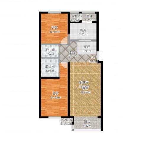 天鸿美域2室2厅2卫1厨116.00㎡户型图