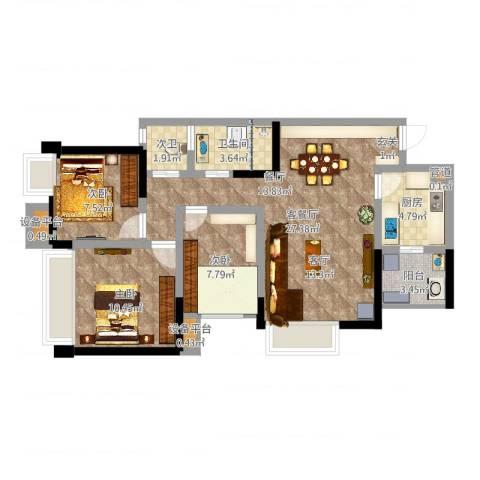 ICON尚郡3室2厅1卫1厨85.00㎡户型图