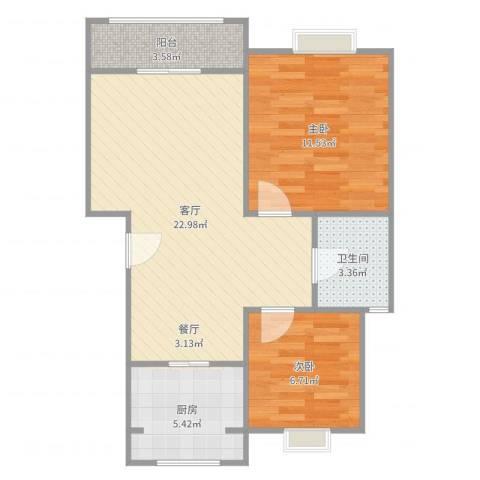 丰水宝邸2室1厅1卫1厨67.00㎡户型图