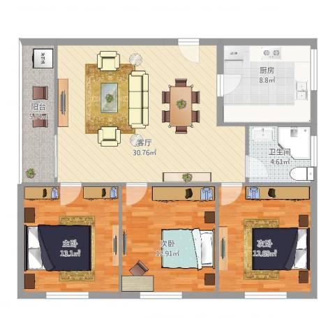 丽晶国际公寓3室1厅1卫1厨121.00㎡户型图