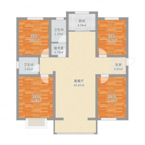 御�城市花园二期4室4厅2卫1厨133.00㎡户型图
