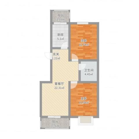 锦绣西双2室2厅1卫1厨79.00㎡户型图