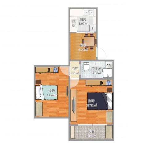 航华一村一街坊2室1厅1卫1厨52.00㎡户型图
