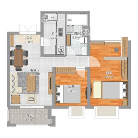 世茂国际广场2室2厅1卫1厨78.00㎡户型图