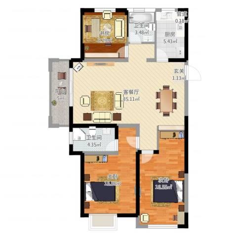 红豆人民路九号3室2厅3卫1厨117.00㎡户型图