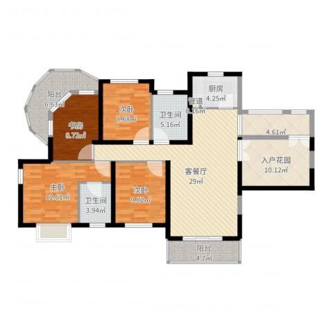 南博湾花园4室2厅2卫1厨135.00㎡户型图