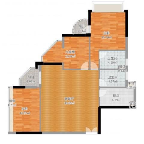碧水明筑3室2厅2卫1厨127.00㎡户型图
