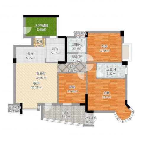 金星小区3室2厅2卫1厨136.00㎡户型图