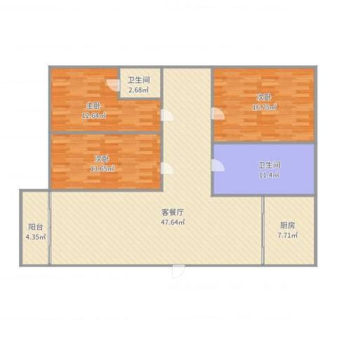 盘景苑3室2厅2卫1厨156.00㎡户型图