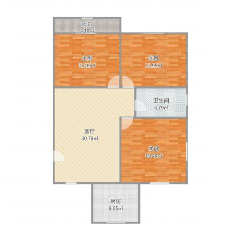 北中路280弄小区3室1厅1卫1厨126.00㎡户型图