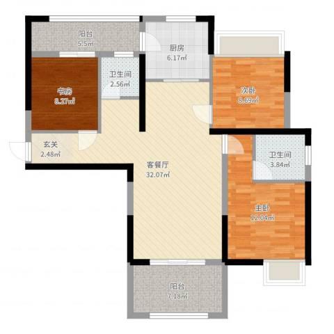 三盛颐景御园3室2厅2卫1厨108.00㎡户型图