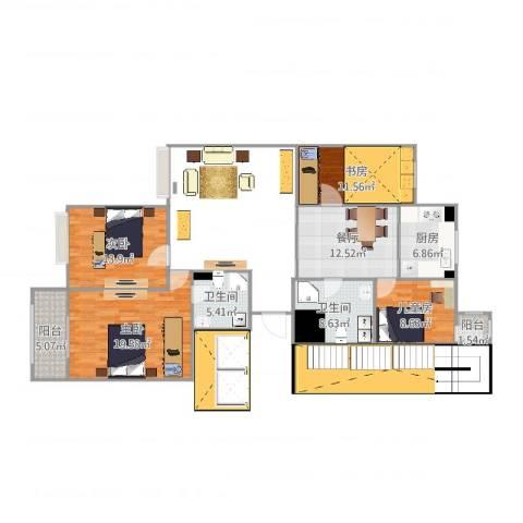 康馨苑4室1厅2卫1厨117.00㎡户型图