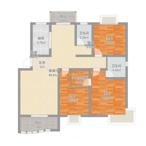 学林雅苑3室2厅2卫1厨131.00㎡户型图