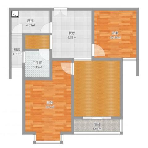 百乐门悦府2室1厅2卫3厨80.00㎡户型图