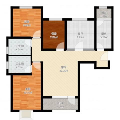 鸿坤・理想湾3室2厅2卫1厨112.00㎡户型图