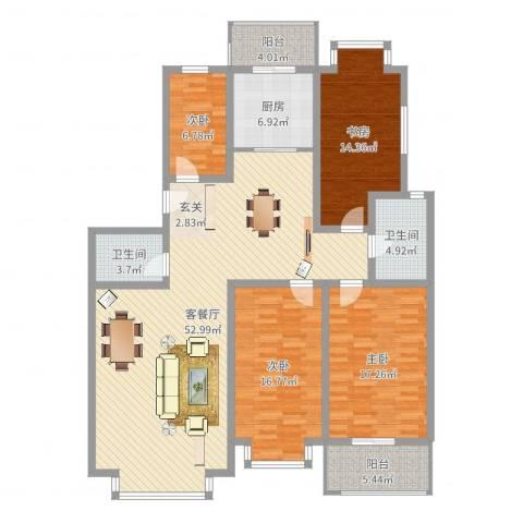 裕丰花园4室2厅2卫1厨166.00㎡户型图