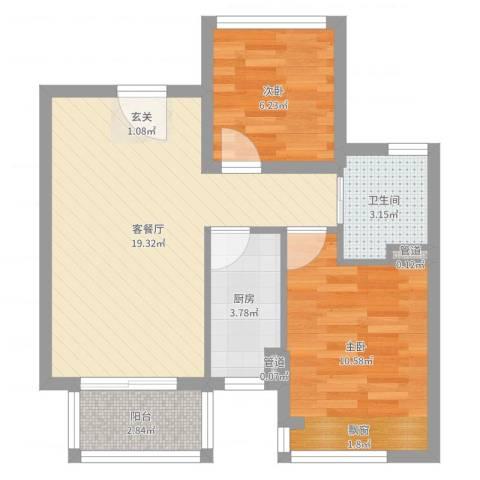 朗诗未来街区2室2厅1卫1厨58.00㎡户型图