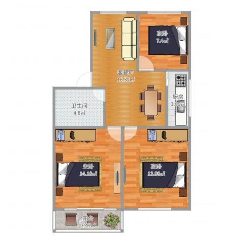 平阳一村3室2厅1卫1厨92.00㎡户型图