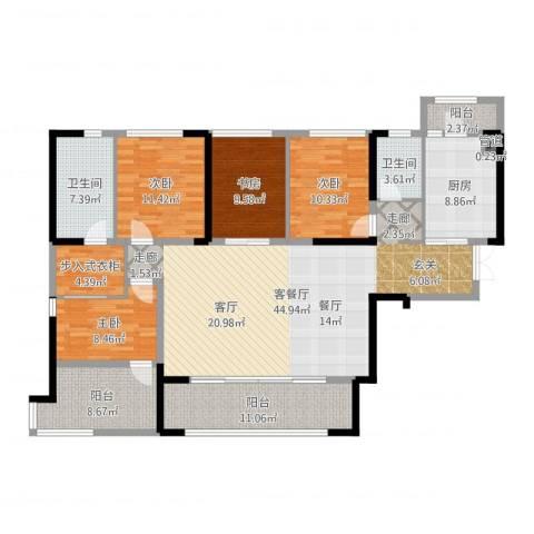 万科紫台4室2厅2卫1厨164.00㎡户型图