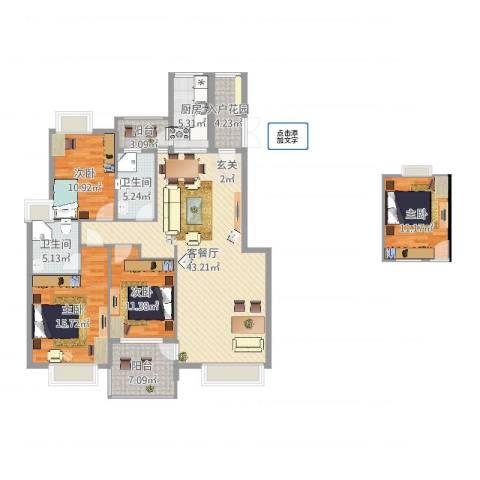 公园华府4室2厅2卫1厨153.00㎡户型图
