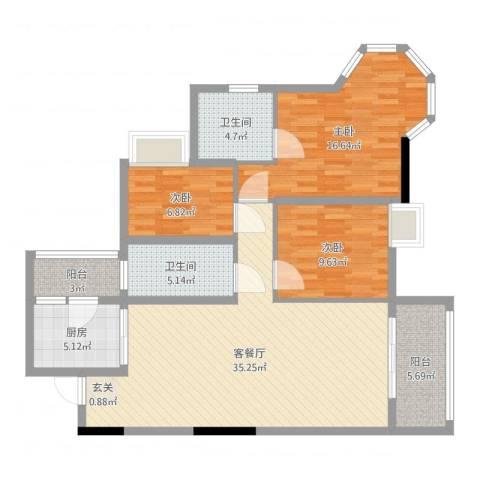 云峰花园四期3室2厅2卫1厨131.00㎡户型图