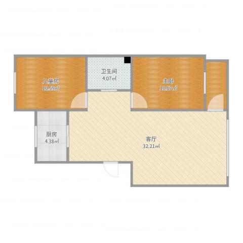 营口红运平安家园小区2室1厅2卫1厨81.00㎡户型图