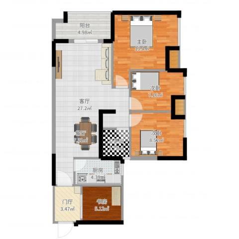 富川瑞园4室1厅1卫1厨98.00㎡户型图