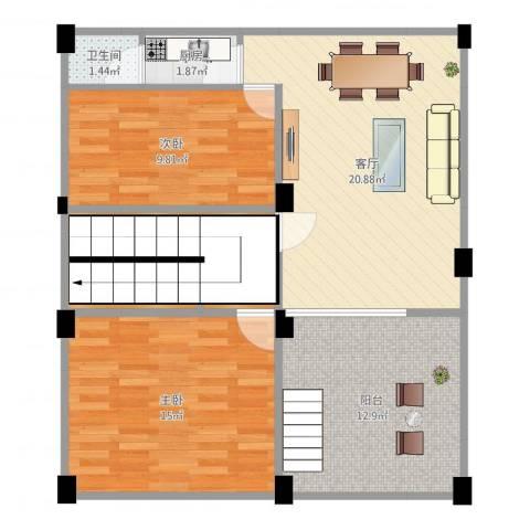 元邦明月园2室1厅1卫1厨87.00㎡户型图