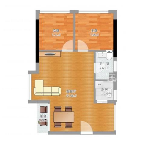 书香门第上河坊2室2厅1卫1厨58.00㎡户型图