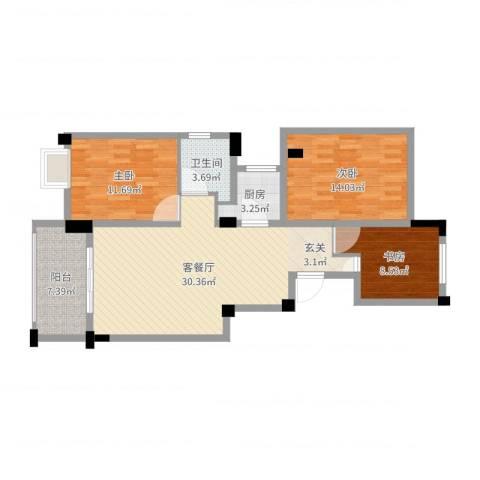 中铁滨江名邸3室2厅1卫1厨99.00㎡户型图