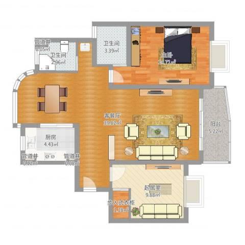 琨城帝景园1室2厅2卫1厨102.00㎡户型图