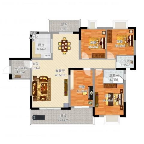 北大阳光4室2厅2卫1厨153.00㎡户型图