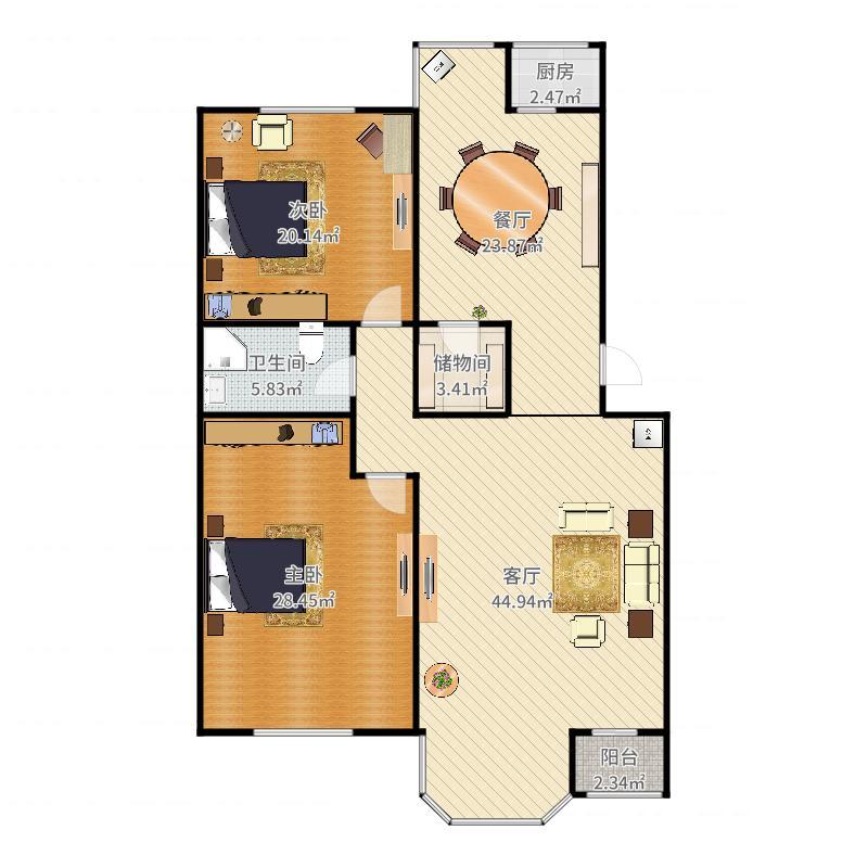 世纪城·远大园五区139平(错层两居)西户