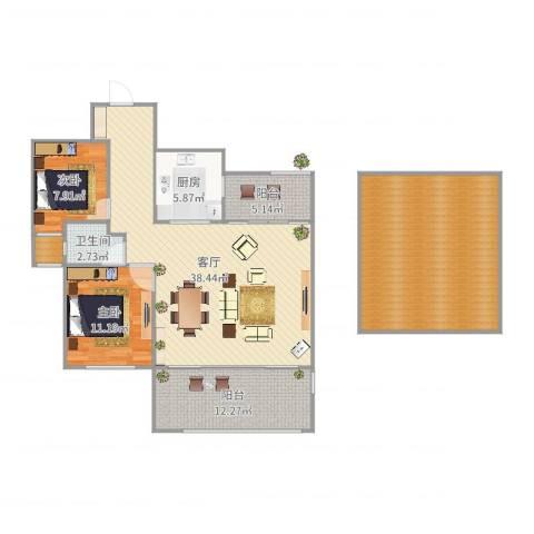 绿地望海新都(绿地领御)2室1厅1卫1厨112.87㎡户型图