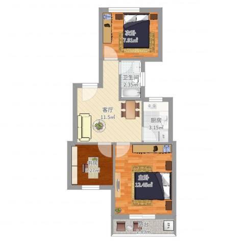 联丰世纪苑3室1厅1卫1厨57.00㎡户型图
