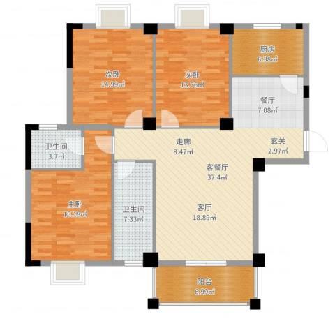 城投幸福家园3室2厅2卫1厨133.00㎡户型图