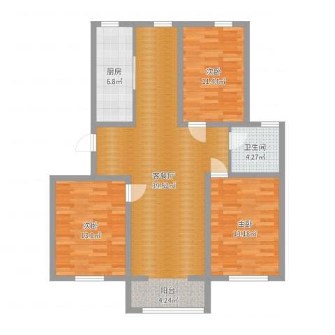 弘基书香园三期3室2厅1卫1厨110.00㎡户型图