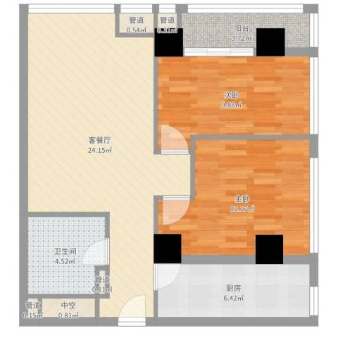 城市之光国际公寓2室2厅1卫1厨78.00㎡户型图