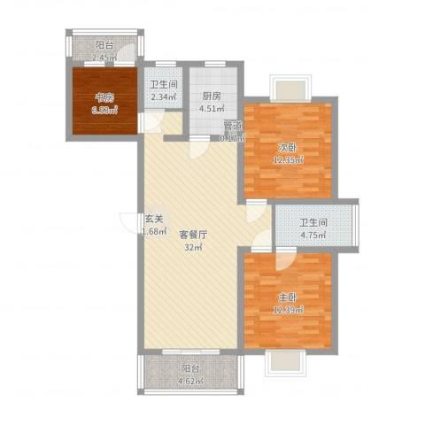 盛世华庭3室2厅2卫1厨103.00㎡户型图